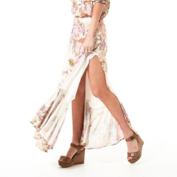 Spell & The Gypsy Collective Dresses & Skirts - Spell Blue Skies Maxi Split Skirt Cream